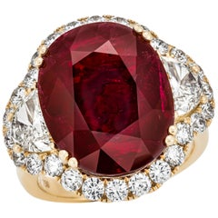 12.52 Carat Mozambique Red Ruby GRS Certified, Oval Cut Ring