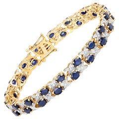 12.53 Carat Blue Sapphire and White Diamond .925 Sterling Silver Bracelet