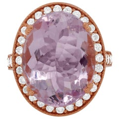 12.53 Carat Kunzite and Diamond Ring