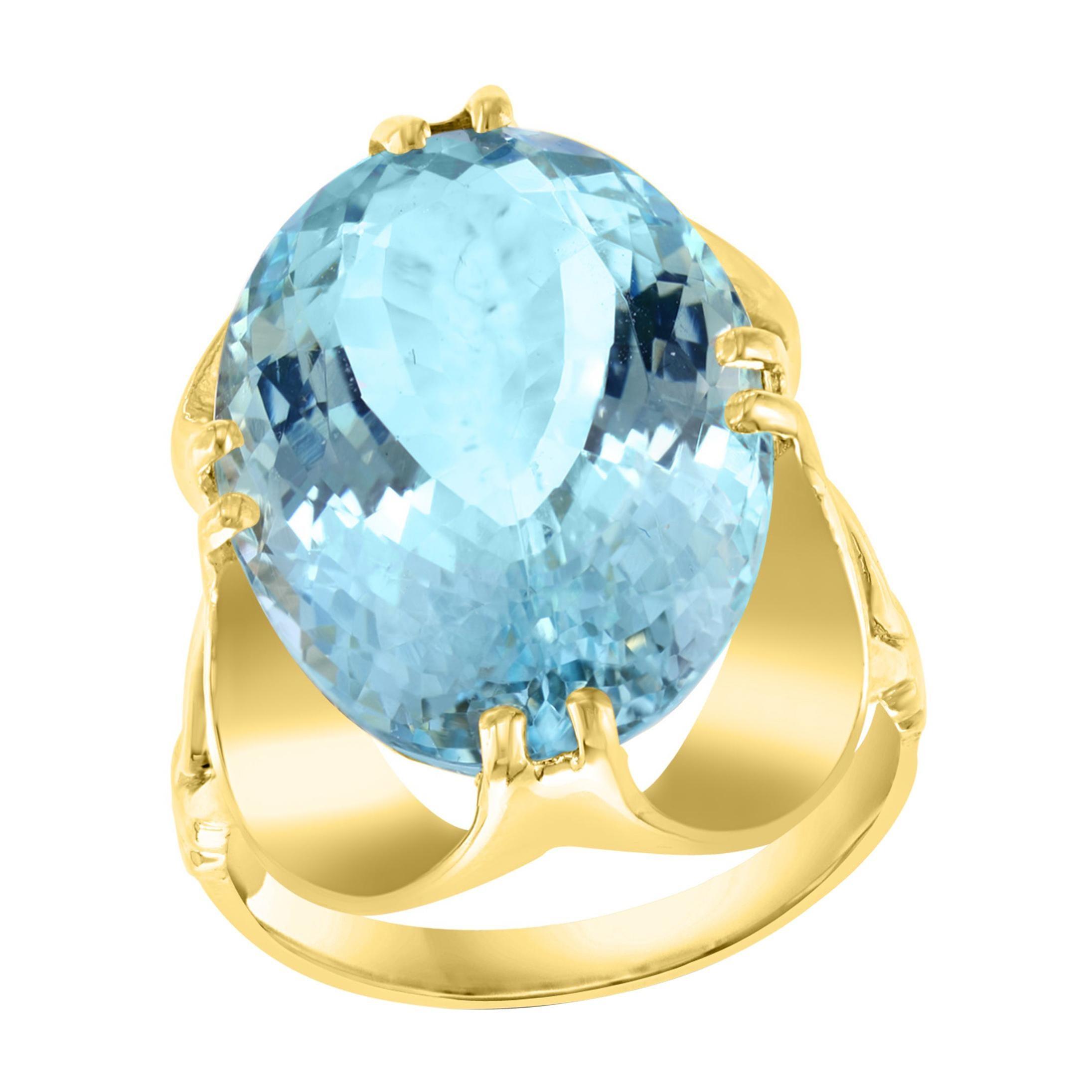 12.54 Carat Natural Oval Shape Aquamarine Cocktail Ring 14 Karat Yellow Gold