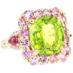 12.54 Carat Peridot Pink Sapphire Ruby Diamond 14 Karat Yellow Gold Ring