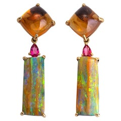 12.55 Carat Australian Opal and 9.53 Carat Citrine Cabochon Earrings