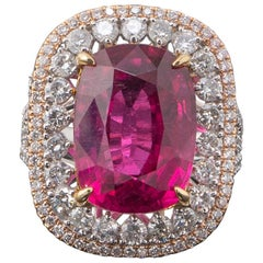 12.56 Carat Cushion Shaped Tourmaline Rubellite and Diamond Cocktail Ring