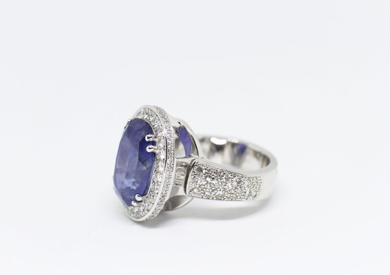 Modern 12.59 Carat Natural Oval Blue Sapphire and Diamond 18 Carat Gold Cocktail Ring For Sale