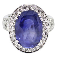 12.59 Carat Natural Oval Blue Sapphire and Diamond 18 Carat Gold Cocktail Ring