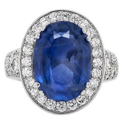 12.59 Carat Natural Unheated Oval Blue Sapphire and Diamond 18 Carat Gold Ring