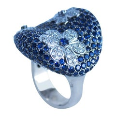 12.59 Carat Sapphire and Diamond Floral Cocktail Ring White Gold