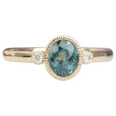 1.25Ct Blue Green Montana Sapphire Diamond Bezel Engagement Ring 14K Gold AD2214