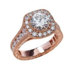 1.25 Carat Round Cut Moissanite Antique Ring in 14 Karat Rose Gold