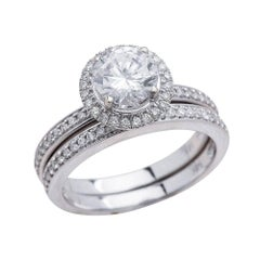 1.25ct Round Cut Moissanite Bridal Ring Set in 14K White Gold
