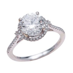 1.25ct Round Cut Moissanite Engagement Ring in 14K White Gold