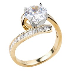 1.25ct Round Cut Moissanite Engagement Ring in 14K Yellow Gold