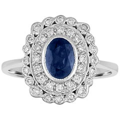 1.26 Carat Blue Sapphire Diamond Gold Ring
