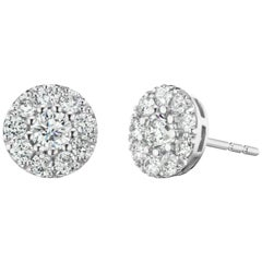 1.26 Carat Diamond Cluster Circle Earrings in 14 Karat White Gold