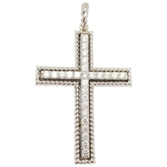 1.26 Carat Diamond Cross Pendant White Gold 14 Karat