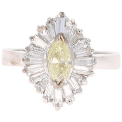 1.26 Carat Fancy Yellow Diamond 18 Karat White Gold Ballerina Ring