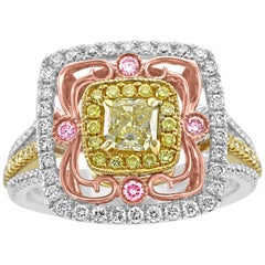 1.26 Carat Fancy Yellow Radiant Diamond Halo Three Color Gold Cocktail Ring