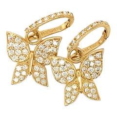 1.26 Carat Natural Diamond Butterfly Earrings G SI 14 Karat Yellow Gold