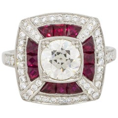 1.26 Carat Old Euro Cut Bezel Set Diamond Ring with Rubies Platinum in Stock