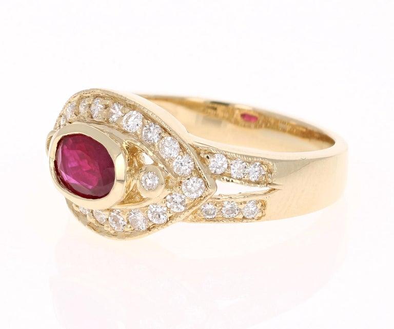 Modern 1.26 Carat Oval Cut Burmese Ruby Diamond 14 Karat Yellow Gold Ring Cocktail For Sale