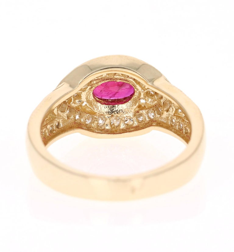 1.26 Carat Oval Cut Burmese Ruby Diamond 14 Karat Yellow Gold Ring Cocktail In New Condition For Sale In Los Angeles, CA
