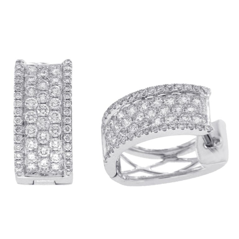 9f0e2fa04252c 1.26 Carat Pave F Color Vs1 Diamonds in 18 Karat White Gold Huggie Hoop  Earrings