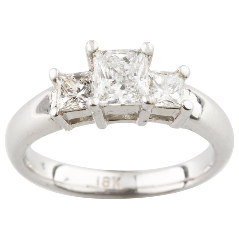 1 26 Carat Princess Cut Diamond 3 Stone 18 Karat White Gold