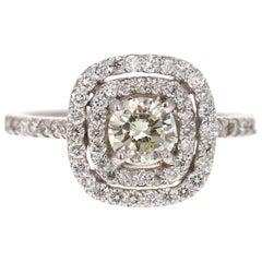 1.26 Carat Round Cut Diamond 14 Karat White Gold Halo Engagement Ring
