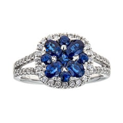 Oval Cut 1.26 Carat Blue Sapphire Diamond Engagement Ring 18 Karat White Gold