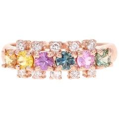 1.26 Carat Sapphire Diamond 14 Karat Rose Gold Ring