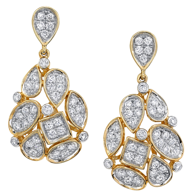 Mosaic Diamond Pave, Yellow Gold Dangle Drop Post Earrings, 1.26 ct. t.w.
