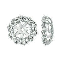 1.26 CT Natural Diamond Jacket Earrings 14k White Gold Center is for 5MM