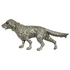 126 Diamond Platinum Ruby Dog Brooch Pin Golden Retriever Labrador Lab Setter