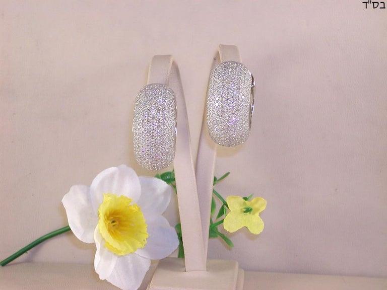 Contemporary 12.60 Carat 18 Karat White Gold White Diamond Hoop Earrings For Sale