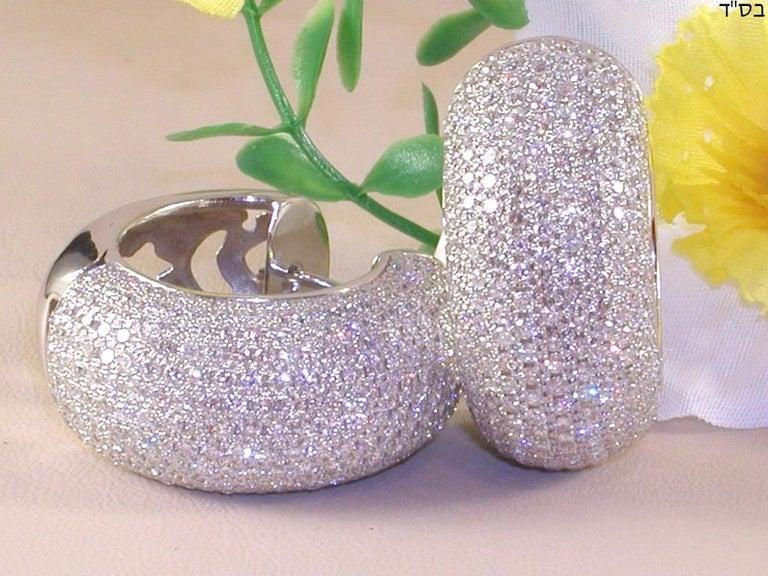 Round Cut 12.60 Carat 18 Karat White Gold White Diamond Hoop Earrings For Sale