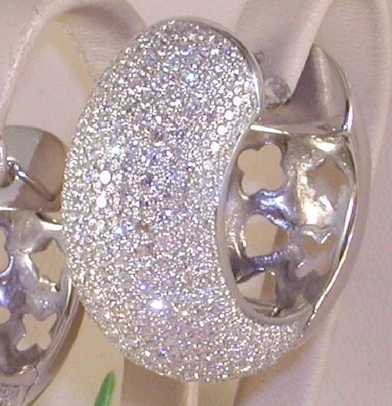 Women's 12.60 Carat 18 Karat White Gold White Diamond Hoop Earrings For Sale