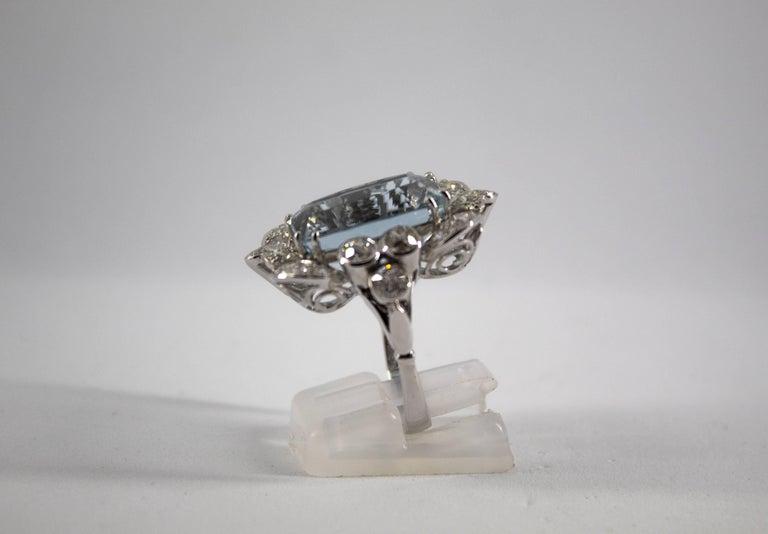 12.60 Carat Aquamarine 2.90 Carat White Diamond White Gold Cocktail Ring For Sale 7