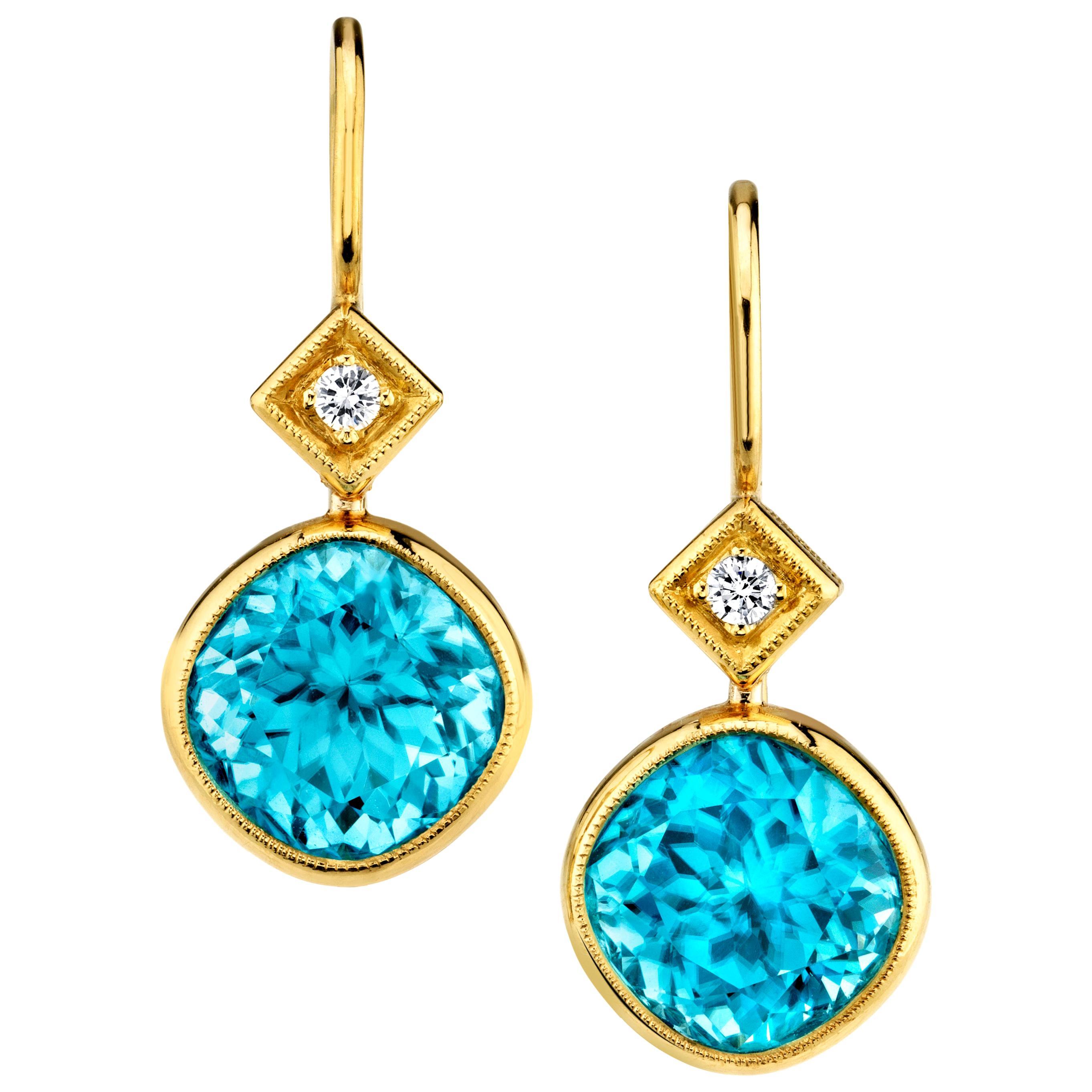 12.60 ct. t.w. Blue Zircon Diamond Yellow Gold Bezel Drop Dangle Earrings