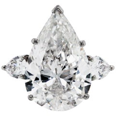 12.60 Carat Pear Shape Diamond GIA Certified Three-Stone Platinum Ring