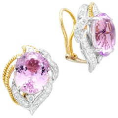12.60 Carat Pink Kunzite with Diamonds 18 Karat Yellow Gold Clip-On Earrings