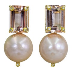 12.61 Carat Morganite, Diamond and Pink Pearl 14 Karat Gold Stud Earrings