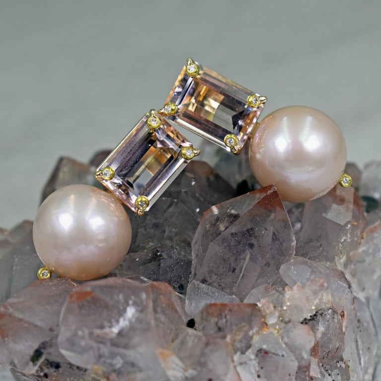 12.61 Carat Morganite, Diamond and Pink Pearl 14 Karat Gold Stud Earrings In New Condition For Sale In Naples, FL