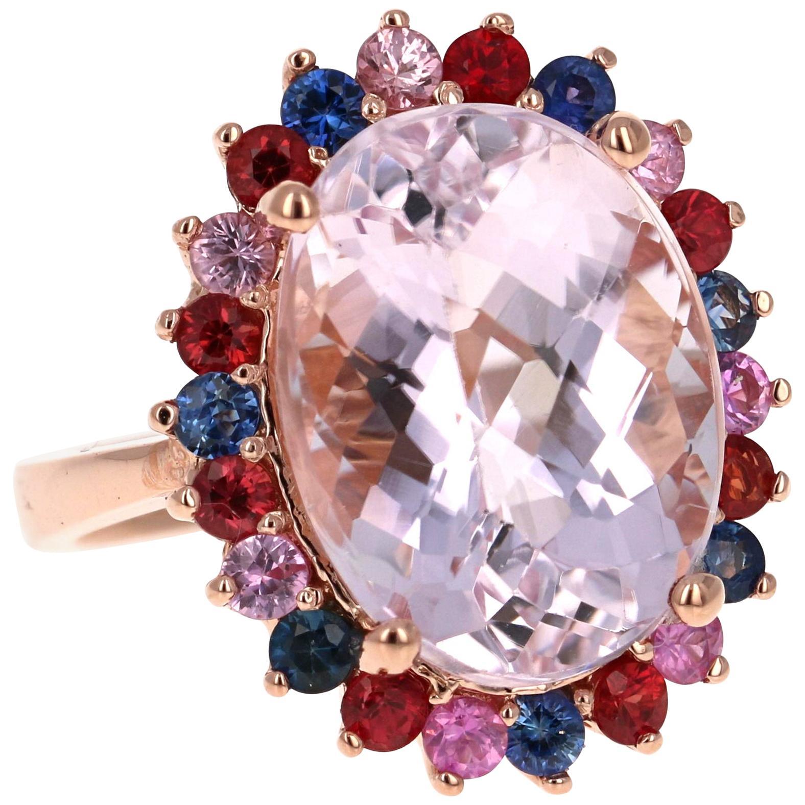 12.61 Carat Oval Cut Kunzite Multi-Sapphire 14 Karat Rose Gold Cocktail Ring