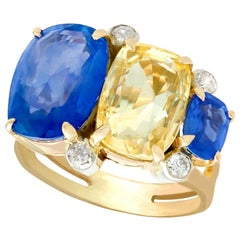 12.61 Carat Sapphire Diamond Yellow Gold Cocktail Ring