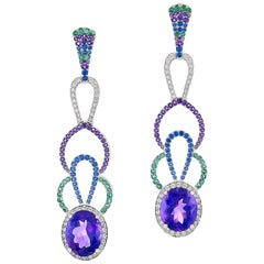 12.62 Carat Amethyst, Emerald, Colored Sapphire and Diamond Earrings