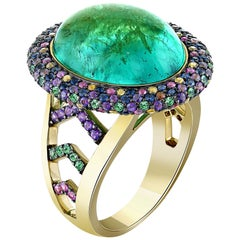 12.62 Carat Emerald Cabochon and Coloured Sapphire Halo Cocktail Ring in 18K