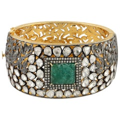 12.64 Carat Rose Cut Diamond Emerald Bracelet Cuff