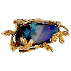 12.65 Carat Opal and Multi-Color Gemstone Ring