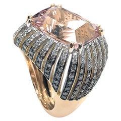 12.65 Carat Pink Morganite Rose Gold Cocktail Ring White and Brown Diamonds