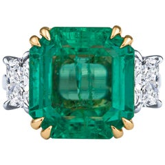 12.65 Colombian Emerald Square Step and Trapezoid Diamond Ring, GIA Report